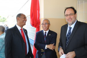 MP of Eastern St. Andrew Andre Hylton (left), Chairman of the National Health Fund Sterling Soares, and Senator Mark Golding